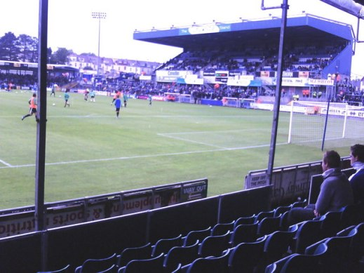 Inside the Memorial Stadium: View from the South Stand to the East (Uplands) Stand with Yeovil Town players warming up before the match with Bristol Rovers. Rovers won 2-1.