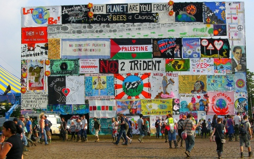 The sign wall at Glastonbury 2009