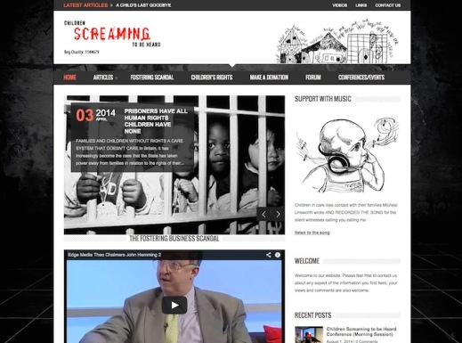 screenshot of 'children screaming to be heard' website