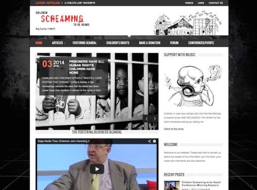 screenshot of 'children screaming to be heard' website