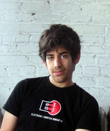 Photo of Aaron Schwartz wearing an Electronic Frontier Foundation tee-shirt