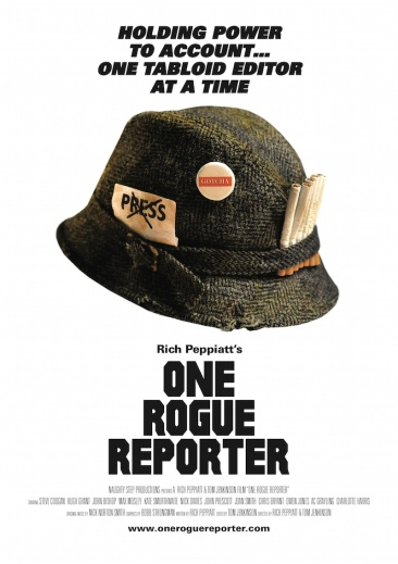 Movie poster for Rich Peppiatt's film One Rogue Reporter, a pastiche of the poster for Kubrick's Full Metal Jacket, with a press reporter's hat instead of an army helmet